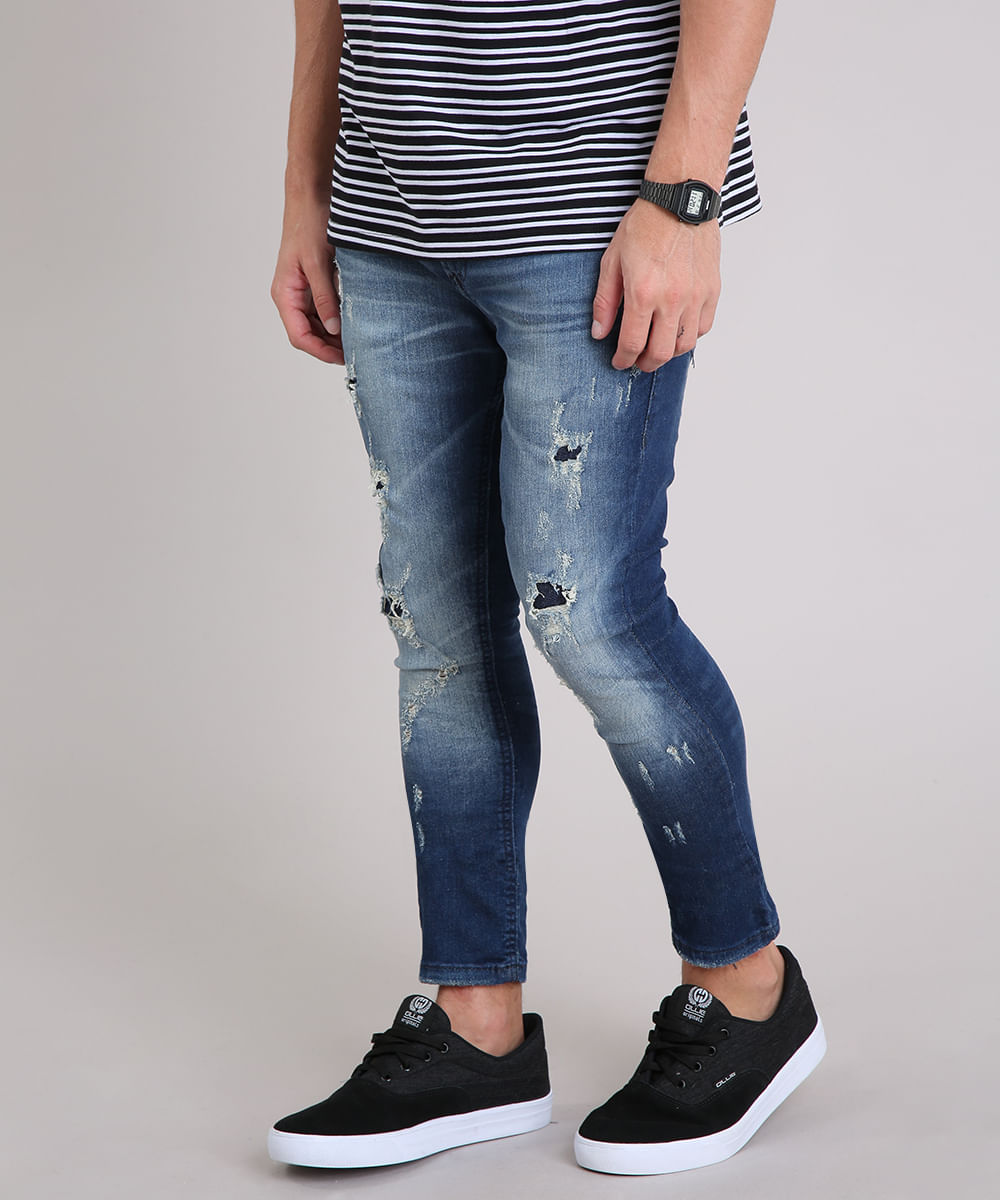 Calça Jeans Masculina Super Skinny Cropped Destroyed Azul Escuro - cea 236a3bf0b93