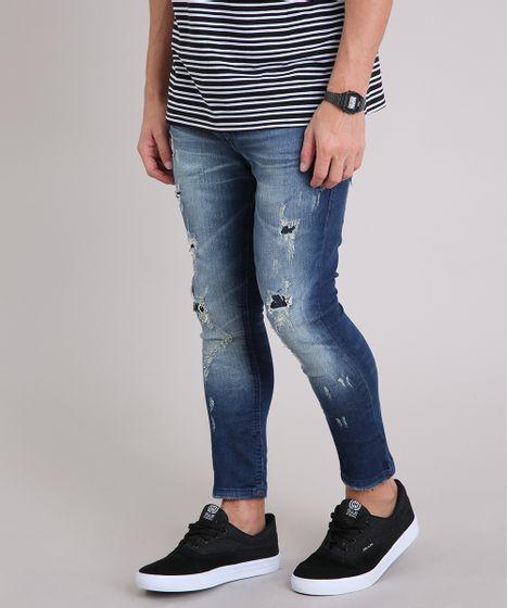 2df373d21 Calça Jeans Masculina Super Skinny Cropped Destroyed Azul Escuro - cea