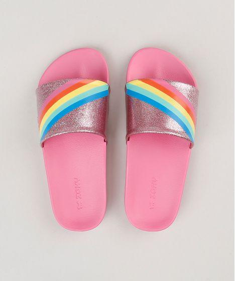 0f6e90fdbe Chinelo Slide Infantil Zaxy com Glitter e Arco Íris Rosa - cea