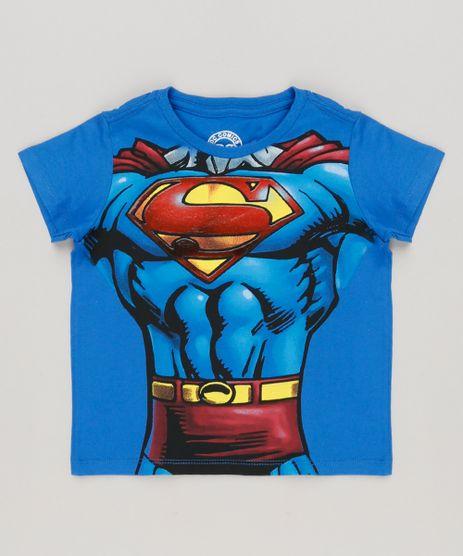 Camiseta-Infantil-Super-Homem-Manga-Curta-Gola-Careca-em-Algodao---Sustentavel-Azul-Royal-8698280-Azul_Royal_1