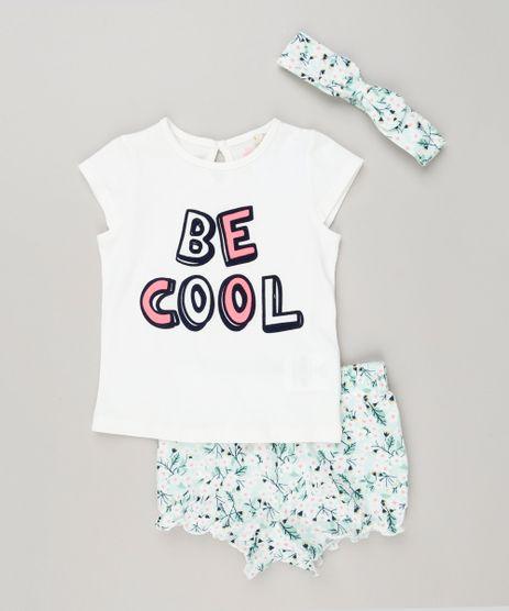 Conjunto-Infantil-de-Blusa--Be-Cool--Manga-Curta---Short-Estampado-Floral---Faixa-de-Cabelo-em-Algodao---Sustentavel-Off-White-8959632-Off_White_1