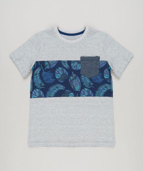 Camiseta-Infantil-com-Recorte-e-Bolso-Manga-Curta-Gola-Careca-Cinza-Mescla-Claro-9227471-Cinza_Mescla_Claro_1
