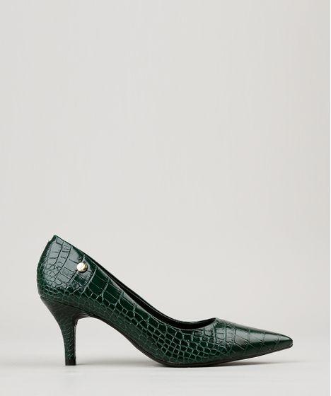 a27a095ca7 Scarpin Feminino Bico Fino Vizzano Texturizado em Verniz Verde ...
