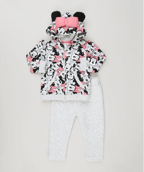 021e5570c1 Conjunto Infantil de Blusão Estampado Minnie com Orelhas e Laço + ...