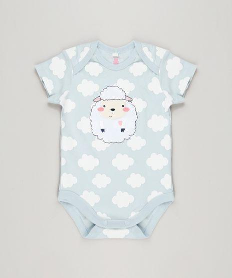 Body-Infantil-Ovelha-Estampado-de-Nuvens-Manga-Curta-Decote-Redondo-em-Algodao---Sustentavel-Azul-Claro-8941315-Azul_Claro_1