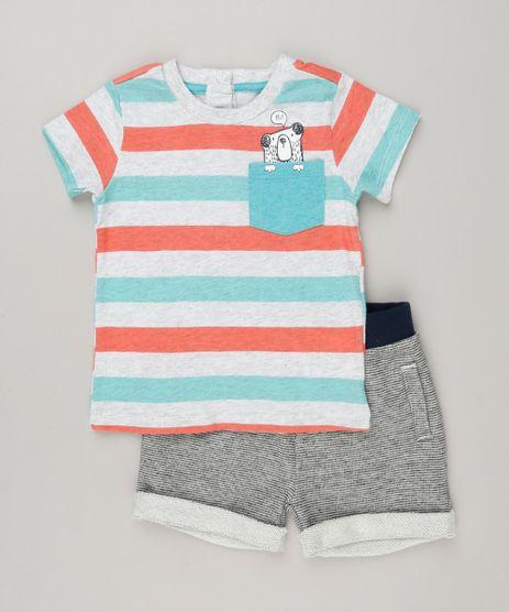 Conjunto-Infantil-de-Camiseta-Listrada-Manga-Curta---Bermuda-em-Moletom-de-Algodao---Sustentavel-Cinza-Mescla-8960240-Cinza_Mescla_1