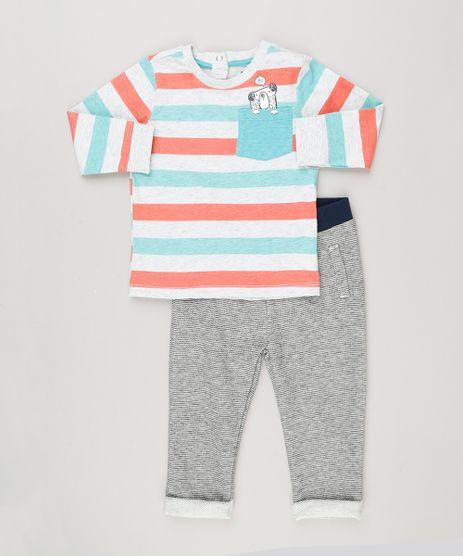 Conjunto-Infantil-de-Camiseta-Listrada-Manga-Longa---Calca-em-Moletom-de-Algodao---Sustentavel-Cinza-Mescla-8959805-Cinza_Mescla_1