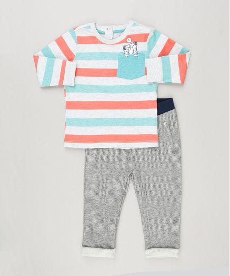 d0bb508e25 Conjunto Infantil de Camiseta Listrada Manga Longa + Calça em ...