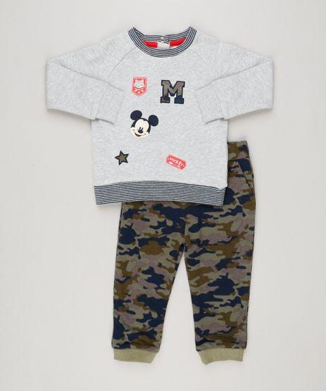 Conjunto-Infantil-de-Blusao-Mickey-com-Bordado-Cinza-Mescla---Calca-Estampada-Camuflada-em-Moletom-Verde-Militar-8950644-Verde_Militar_1