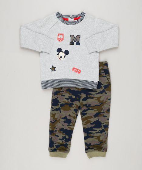 Conjunto Infantil de Blusão Mickey com Bordado Cinza Mescla + Calça  Estampada Camuflada em Moletom Verde Militar - cea f661981b367