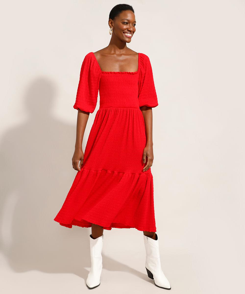 Vestido Midi com Recortes e Lastex Manga Bufante Vermelho