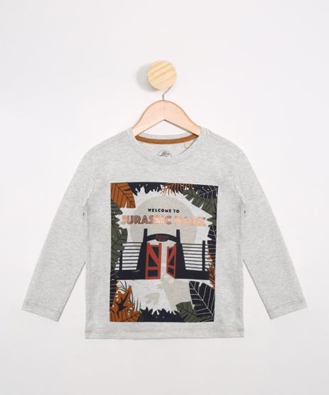 Camiseta-Infantil-Jurassic-Park-Manga-Longa-Cinza-Mescla-Claro-9988734-Cinza_Mescla_Claro_1