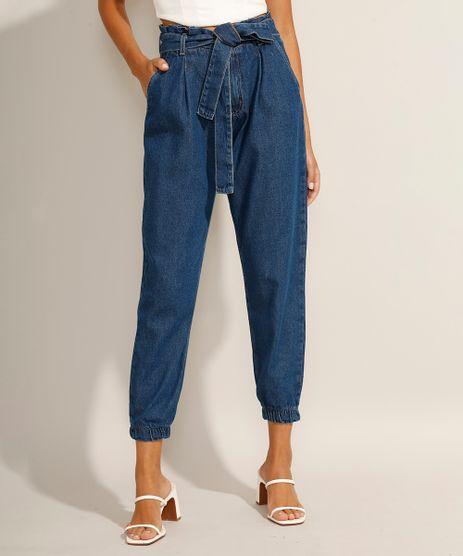 Calca-Jogger-Clochard-Jeans-com-Faixa-para-Amarrar-Cintura-Super-Alta-Azul-Escuro-9991101-Azul_Escuro_1