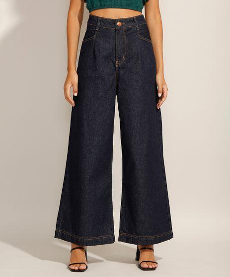 Calca-Pantalona-Jeans-com-Pregas-Cintura-Super-Alta-Azul-Escuro-9991650-Azul_Escuro_1