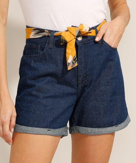 Short-Midi-Jeans-com-Barra-Dobrada-e-Faixa-para-Amarrar-Cintura-Media-Azul-Escuro-9991797-Azul_Escuro_1