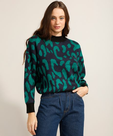Sueter-Amplo-de-Trico-Estampado-Animal-Print-Onca-Gola-Alta-Azul-Escuro-9811710-Azul_Escuro_1