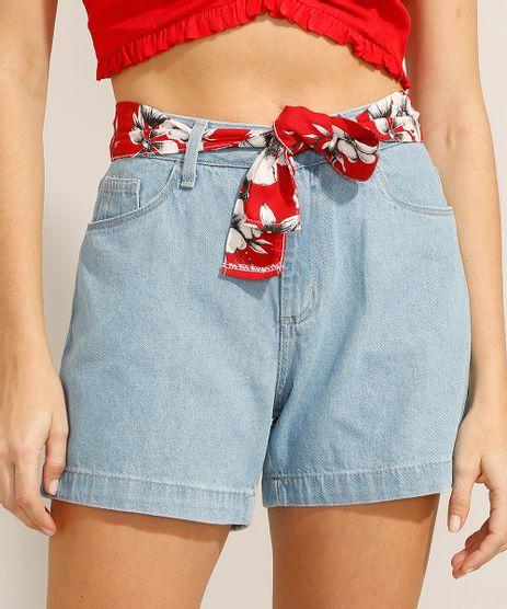 Short-Midi-Jeans-com-Faixa-para-Amarrar-Cintura-Alta-Azul-Claro-9991798-Azul_Claro_1
