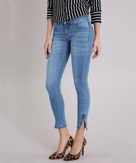 Calca-Jeans-Feminina-Super-Skinny-com-Ziper-na-Barra-Azul-Medio-7936103-Azul_Medio_1