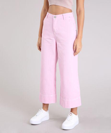 Calca-Jeans-Feminina-Pantacourt-Cintura-Alta-Rosa-9264227-Rosa_1