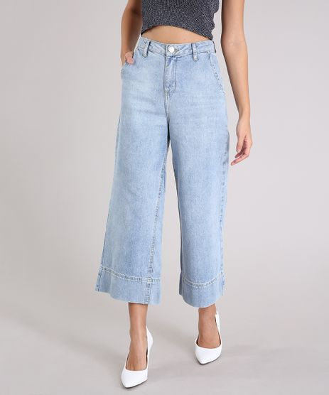Calca-Jeans-Feminina-Pantacourt-Cintura-Alta-Azul-Claro-9264227-Azul_Claro_1