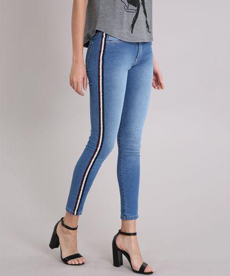 Calca-Jeans-Feminina-Super-Skinny-com-Faixa-Lateral-Azul-Medio-9222210-Azul_Medio_1