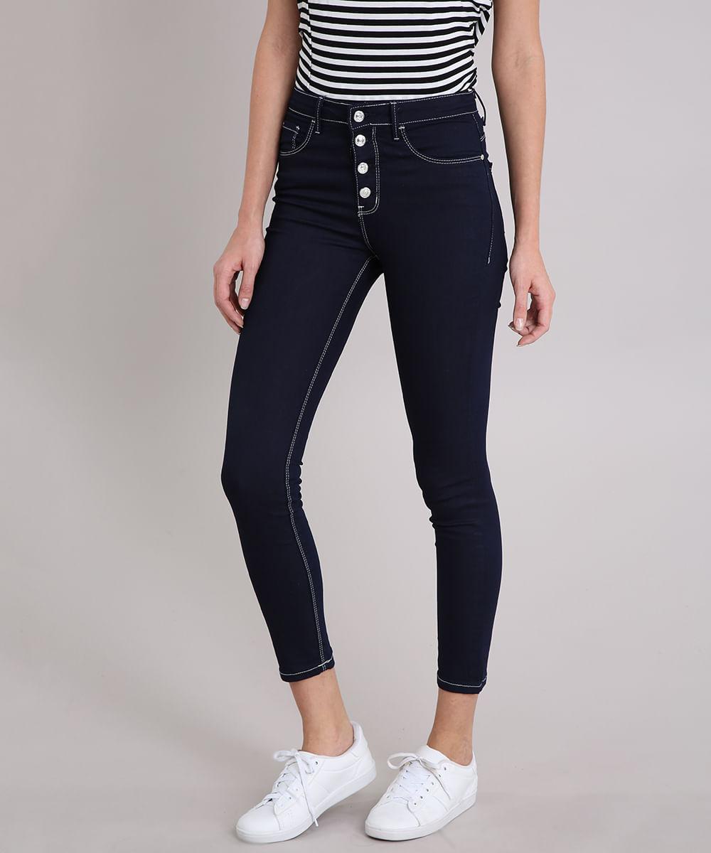 cc2e02df3 Calça Jeans Feminina Skinny com Botões Cintura Alta Azul Escuro - cea