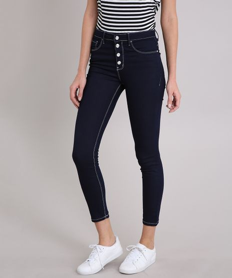 Calca-Jeans-Feminina-Skinny-com-Botoes-Cintura-Alta-Azul-Escuro-9209324-Azul_Escuro_1