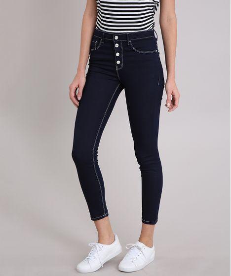 f139af153 Calça Jeans Feminina Skinny com Botões Cintura Alta Azul Escuro - cea