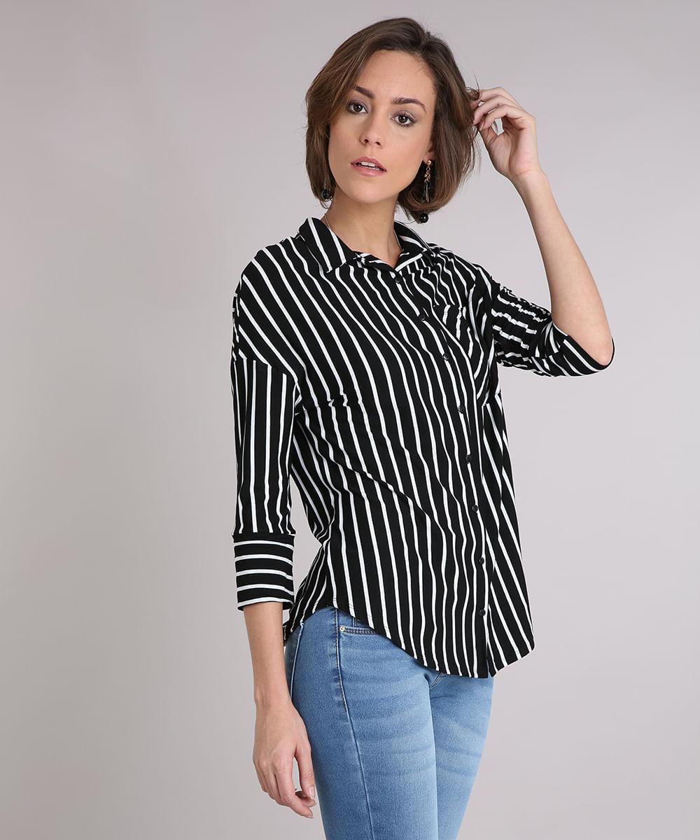 Camisa Feminina Listrada com Bolso Manga Longa Preta - cea c16746b98ee74