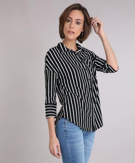 Camisa-Feminina-Listrada-com-Bolso-Manga-Longa--Preta-9245742-Preto_1