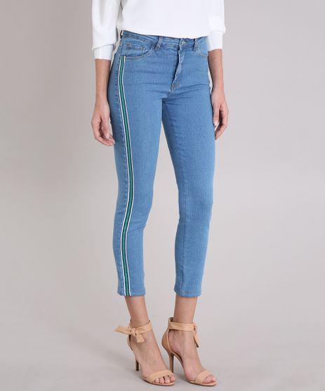 Calca-Jeans-Feminina-Cigarrete-com-Faixas-Laterais-Azul-Medio-9248487-Azul_Medio_1