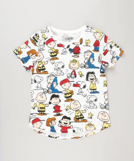 Blusa-Infantil-Estampada-Snoopy-Manga-Curta-Decote-Redondo-em-Algodao---Sustentavel-Off-White-9175387-Off_White_1