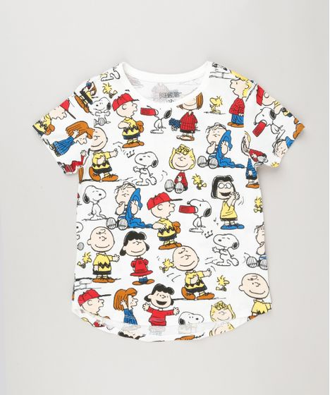 d47d064a7 Blusa Infantil Estampada Snoopy Manga Curta Decote Redondo Off White ...