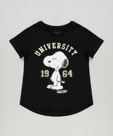 Blusa-Infantil-Snoopy-Manga-Curta-Decote-Redondo-em-Algodao---Sustentavel-Preta-9175397-Preto_1
