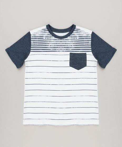 Camiseta-Infantil-com-Listras-e-Bolso-Manga-Curta-Gola-Careca-em-Algodao---Sustentavel-Off-White-9227491-Off_White_1