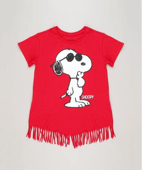 Blusa-Infantil-Snoopy-com-Franjas-Manga-Curta-Decote-Redondo-em-Algodao---Sustentavel-Vermelha-9175388-Vermelho_1