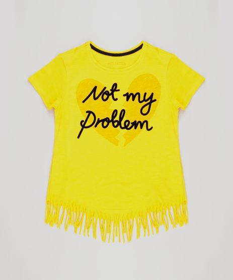 Blusa-Infantil--Not-My-Problem--com-Franjas-Manga-Curta-Decote-Redondo-em-Algodao---Sustentavel-Amarela-9141770-Amarelo_1