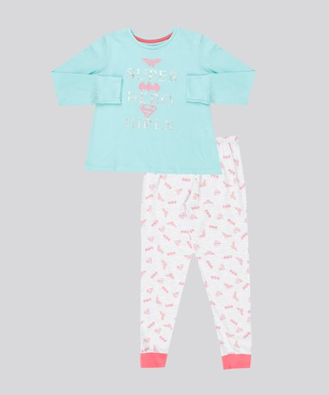 Pijama-Infantil--Super-Hero-Girls--Manga-Longa-Decote-Redondo-Verde-Claro-9133000-Verde_Claro_1