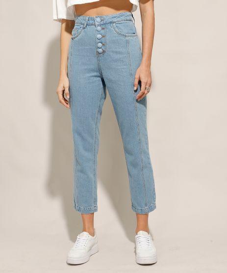 Calca-Jeans-Reta-Cintura-Super-Alta-com-Botoes-Azul-Claro-9991274-Azul_Claro_1