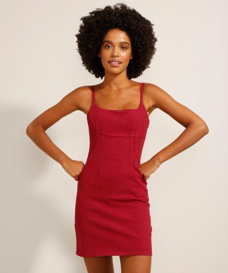 Vestido-de-Sarja-Curto-com-Pences-Alca-Fina-Decote-Reto-Vermelho-9991482-Vermelho_1