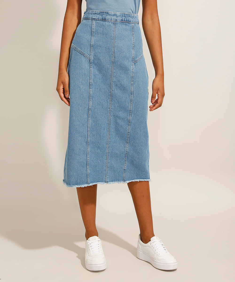 Saia Evasê Jeans Midi com Recortes Azul Médio