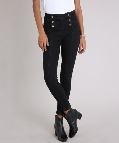 Calca-Jeans-Feminina-Sawary-Cigarrete-Modela-Bumbum-com-Botoes-Preta-9240749-Preto_1
