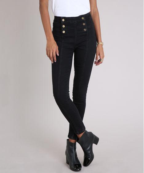 6ebf4bdec Calça Jeans Feminina Sawary Cigarrete Modela Bumbum com Botões Preta ...