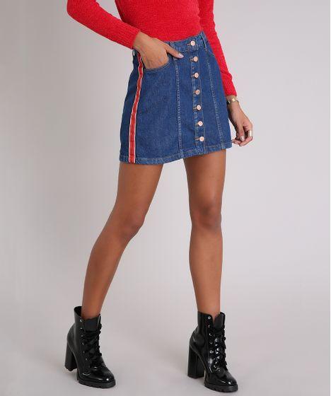 207075b05 Saia Jeans Feminina com Faixa Lateral e Botões Curta Azul Médio - cea