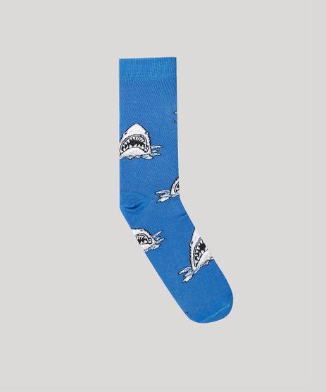 Meia-Masculina-Cano-Alto-Divertida-Tubaroes-Azul-Royal-9167599-Azul_Royal_1