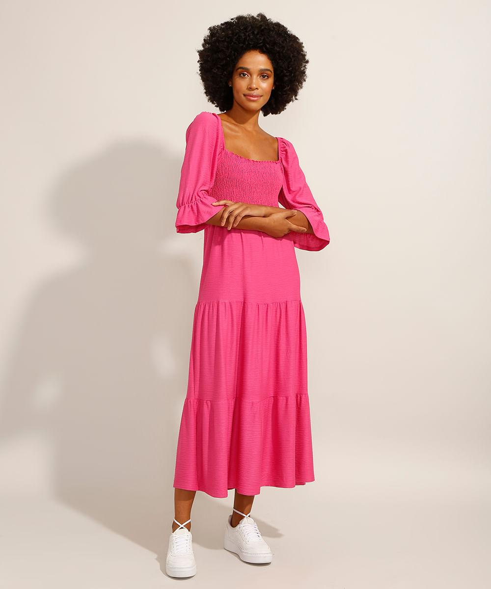 Vestido Midi com Recortes e Lastex Manga Bufante Pink
