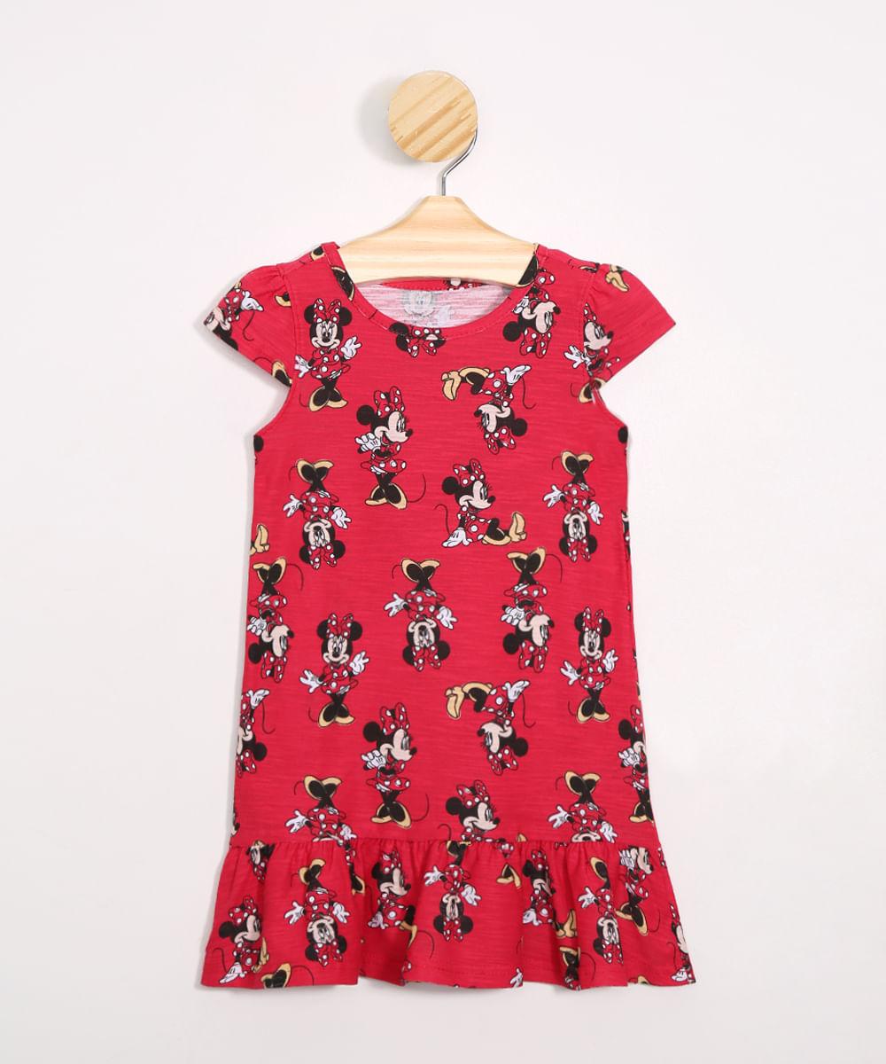 Vestido Infantil Estampado Minnie com Babados Vermelho