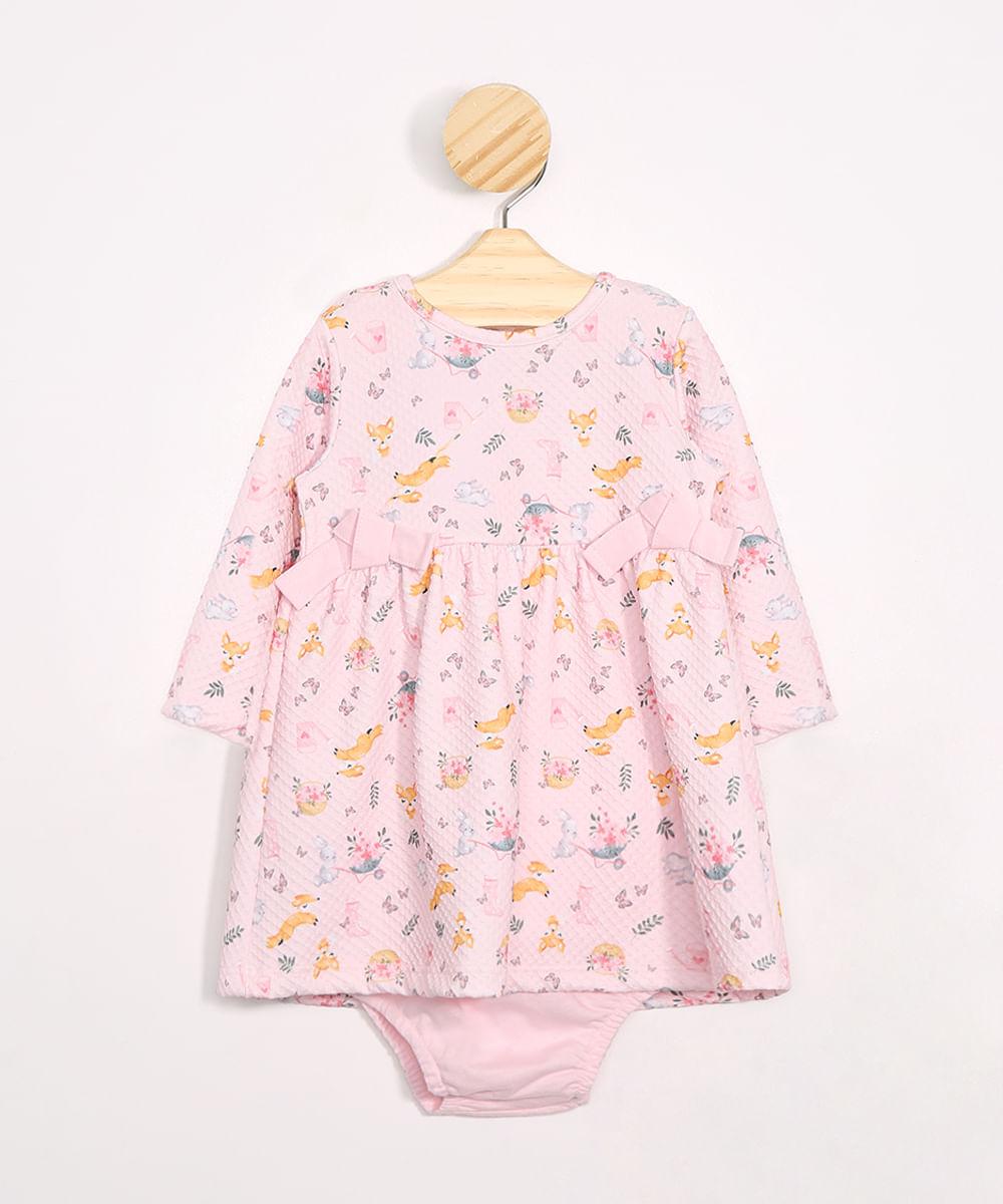 Vestido Infantil Estampado de Raposinhas Manga Longa + Calcinha Rosa