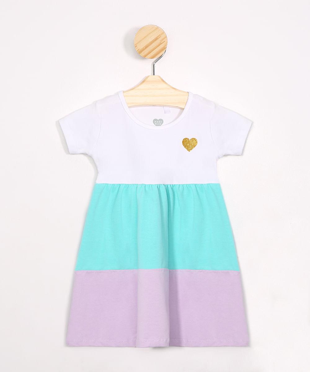 Vestido Infantil com Recortes Manga Curta Multicor