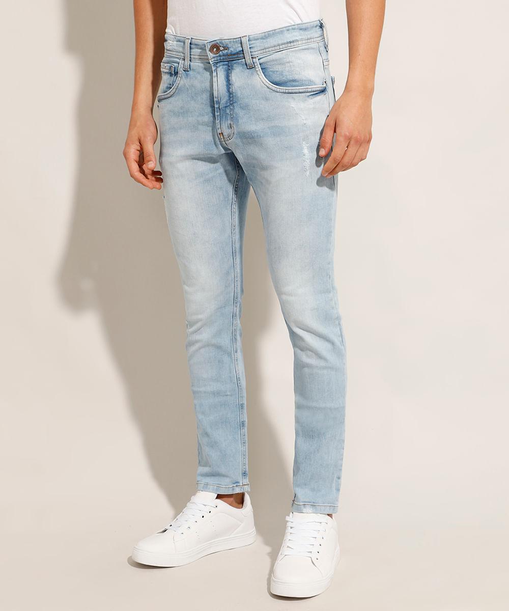 Calça Jeans Masculina Skinny com Puídos Azul Claro